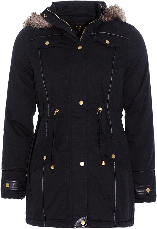 Brave Soul Ladies Allure Designer Faux Fur Hooded Parka Coat
