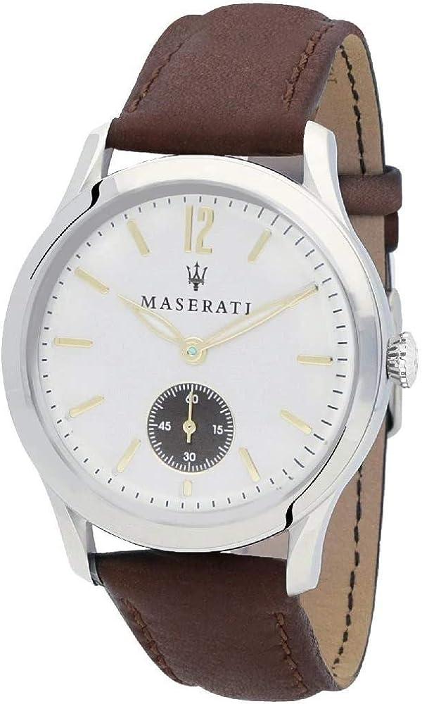 Maserati orologio cronografo uomo, collezione tradizione, cassa in acciaio e cinturino in vera pelle R8851125001