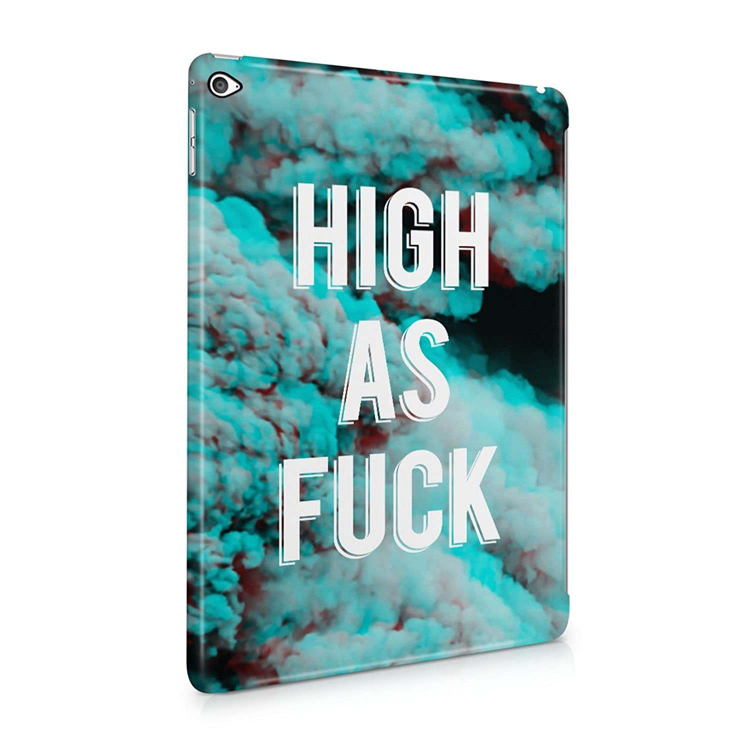 High As Fuck Trippy Blue Smoke Pattern Plastic Tablet Snap On Back Cover Shell For iPad Air 2