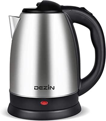 Dezin Hervidor eléctrico mejorado, hervidor de té de acero inoxidable de 2 litros, calentador de agua de hervir rápido con apagado automático y tecnología de protección en seco para café, té, bebidas