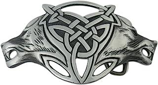 VIGOROSO Men Gothic Funny Lovely Celtic Wild Wolf Fox Double Head Belt Buckle
