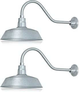 14in. Galvanized Finish Outdoor Gooseneck Barn Light Fixture With 22in. Long Extension Arm - Wall Sconce Farmhouse, Antique Style - UL Listed - 9W 900lm A19 LED Bulb (5000K Cool White) - 2-Pack