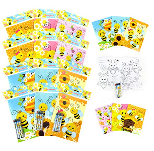 TINYMILLS Honey Bees Coloring Book and Crayon Set for Kids Party Favors with 12 Coloring Books and 48 Crayons for Birthday Goody Bag Stuffers for Kids Bee Party Gifts Carnival Prizes Classroom Gift Giveaways