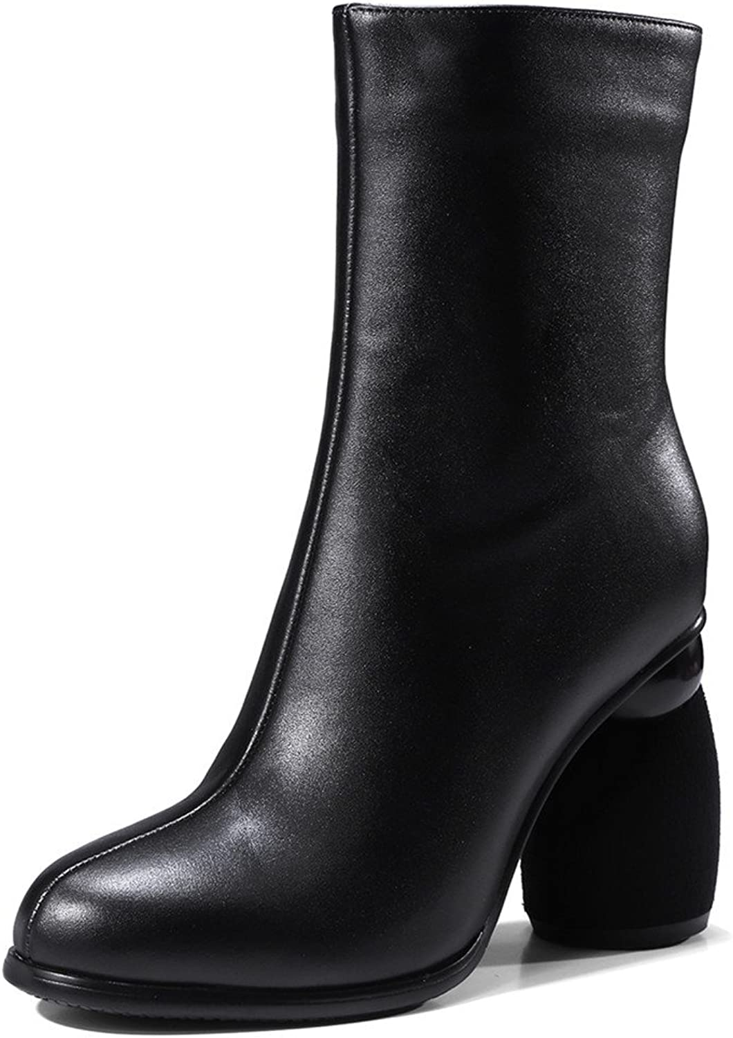 Nine Seven Genuine Leather Women's Square Toe Chunky Heel Handmade Dress Mid Calf Boots New