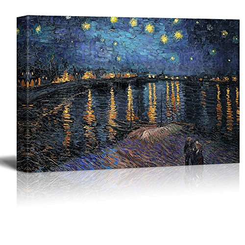 """wall26 Starry Night Over The Rhone by Vincent Van Gogh - Oil Painting Reproduction on Canvas Prints Wall Art, Ready to Hang - 24"""" x 36"""""""