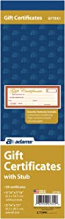 Adams 1-Part Gift Certificates with Stub 3-1/4