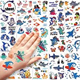 Sinwind Tattoo Kinder, 15 Blätter wasserdichte Kinder Tattoo Set, Temporäre Tattoos Aufkleber für Junge Mädchen Kinder Spielen Mitgebsel Kindergeburtstag Party (Hai)
