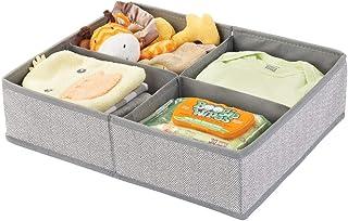 mDesign boite rangement enfant séparée en quatre compartiments – grand casier de rangement pour couches, lingettes, access...