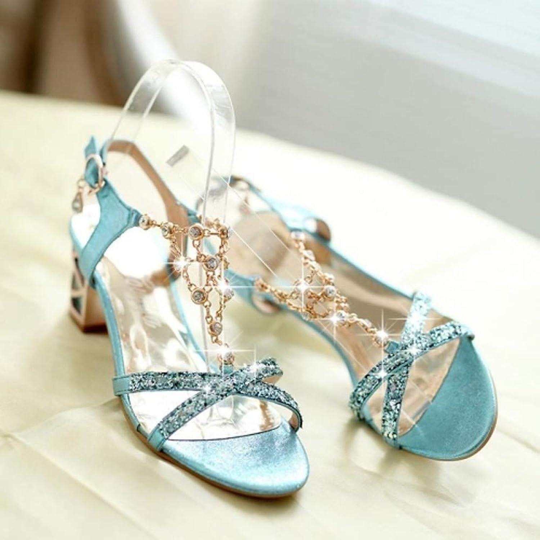 IWlxz Women's Crystal Sandals Faux Leather Spring Summer T-Strap Slingback Chunky Heel Block Heel Sparkling Glitter Chain Silver bluee gold Block Heel Sandals