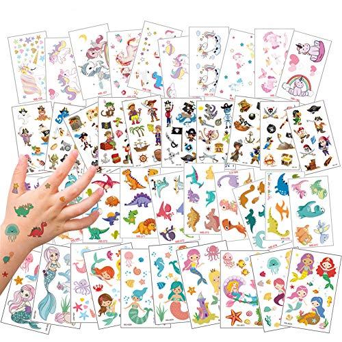 40 Blätter Temporäre Tattoos für Kinder, Klein Tattoo Aufkleber de Pirat & Einhorn & Piraten und Meerjungfrau Temporary Klebe Tattoo für Mädchen Jungen Geburtstag Party Halloween Weihnachts (40pcs)