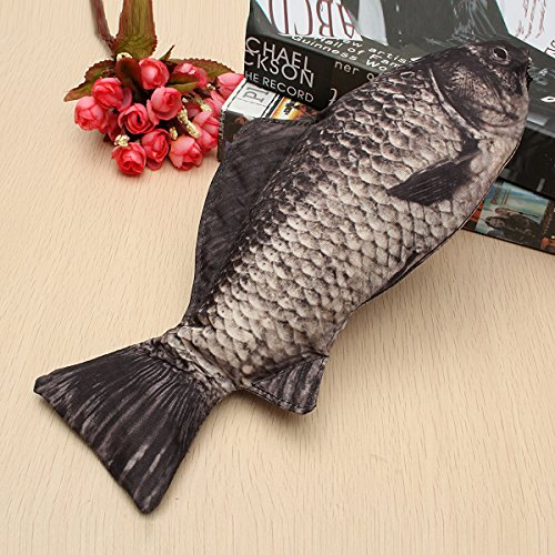 Tutoy Silver Carp Real Fish Like Pencil Case Makeup Pouch with Zipper Funny Gift