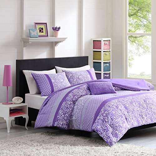 Mi-Zone Riley Comforter Set Full/Queen Size - Purple, Floral – 4 Piece Bed Sets – Ultra Soft Microfiber Teen Bedding for Girls Bedroom