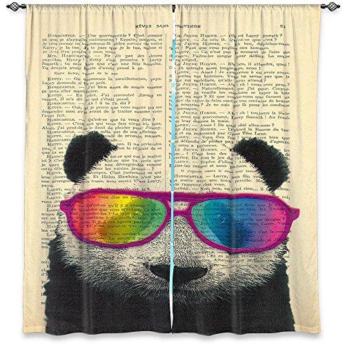Ventana Cortinas sin forro de DiaNoche Designs único, decorativo, Funky, Cool por Madame Memento oso panda Rainbow gafas de sol, poliéster y mezcla de poliéster, 80W x 82H in