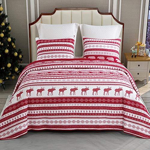 Christmas Comforter Bedding, Wilderness Bear 3pc 100% Cotton Bedspread Quilt Set and Pillow Sham Queen Size