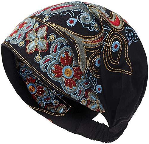Women Summer Vintage Embroidery Ethnic Beanie Hat Cotton Elastic Turban Caps (Black)
