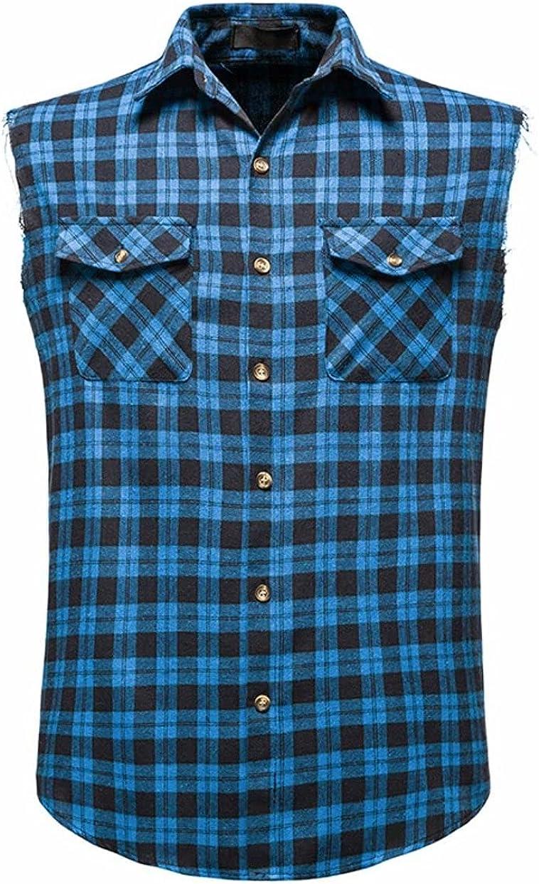 Men's Plaid Checkered Button Down Casual Sleeveless Plaid Shirt Flannel Shirts Pocket Hip Hop Vest Plus Size