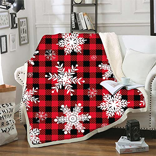 Decke Kuscheldecke 3D Drucken Rote Gitter Schneeflocke Fleece Flanell Decke Microfaser Plüsch Weiche Warme Sherpa Sofadecke Tagesdecke Kind Erwachsene Camping Picknick Decke Bettwaren 130x150cm