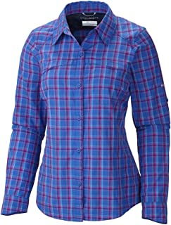Columbia Sportswear Womens Silver Ridge Plaid Long Sleeve Shirt, Blue Macaw, X-Large