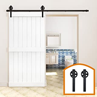 ZEKOO 10 FT Rustic Kitchen Coffee Wood Sliding Barn Door Hardware Rolling Antique Flat Closet Tracks Kit Big Wheel Set