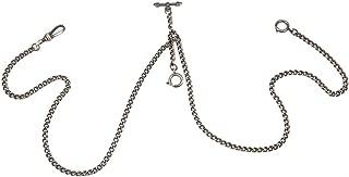 Pocket Watch Double Albert Chain T-Bar Watch Chain Link 16 inch 3 Hook Bronze Classic Antique