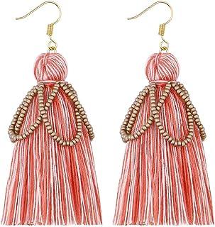 Loveliome Tassel Earrings for Women, Bohemian Colorful Beaded Dangle Drop Earrings Girls Gifts