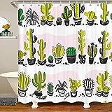 Loussiesd Cortina de ducha de cactus para baño, para niños, bohemio, suculentas, con ganchos, poliéster impermeable, cortinas de baño botánicas de 172 x 200 cm