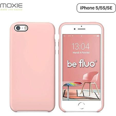 MOXIE Coque iPhone 5/5S/SE [BeFluo] Coque Silicone Fine et Légère pour iPhone Se, iPhone 5S et iPhone 5, Intérieur Microfibre, Coque Anti-Chocs et ...