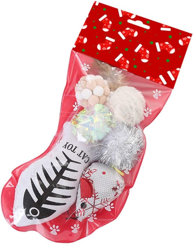 Kinnart Interactive Pets Supplies for Cats Kitten Teeth Cleaning Toy Cats Ball Mice Fish Plush Toys Filled Christmas Stocking Gifts Set Pet Supplies White