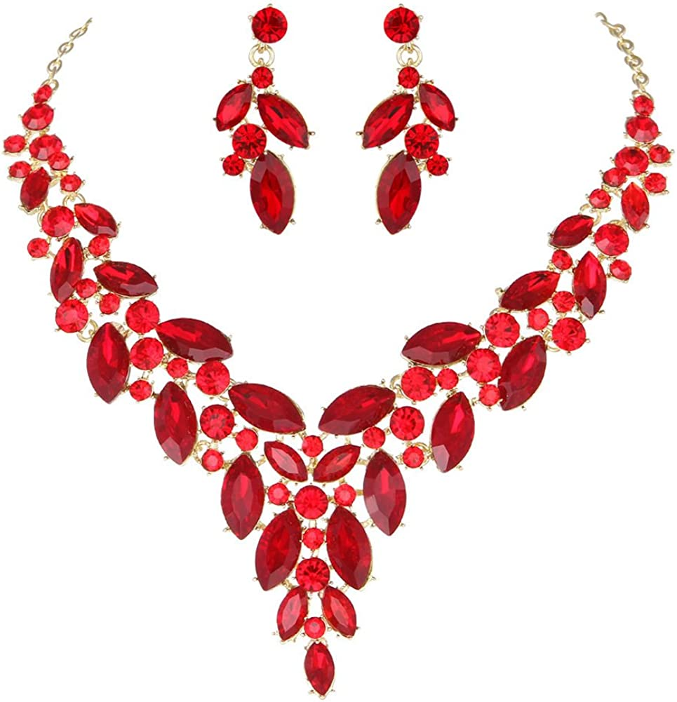 Molie Youfir Austrian Crystal Wedding Statement Necklace and Earring Set for Brides Party Dress