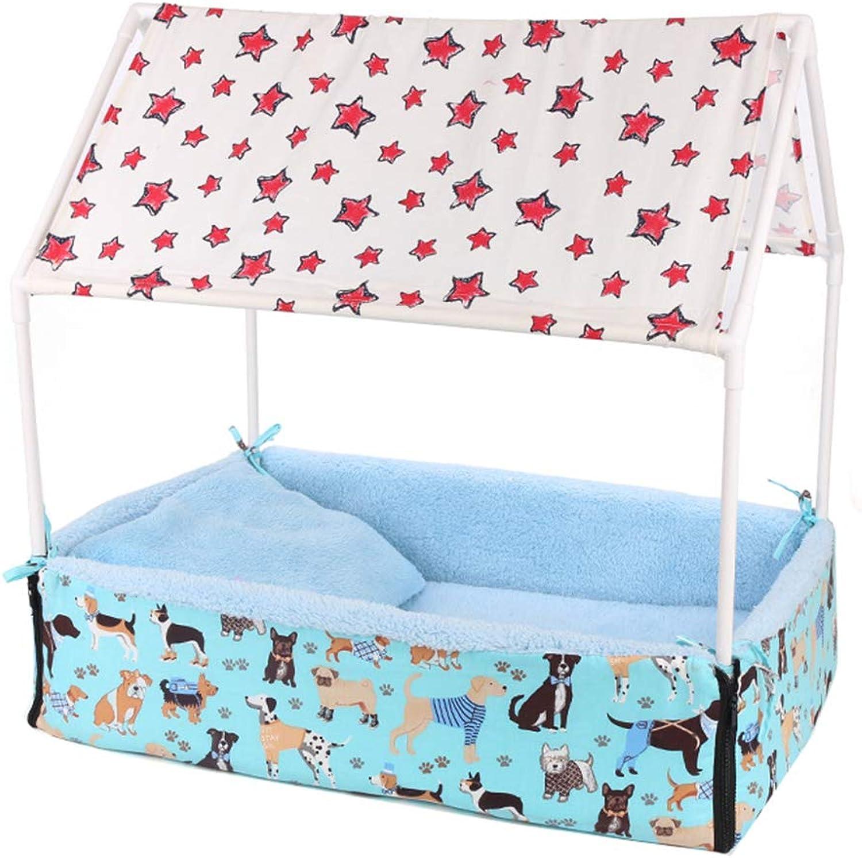 Cat Dog Playpen Detachable Kennel Pet Tent, DoubleSided Mat, Detachable, Suitable for All Seasons,bluee