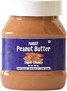 Planut Chemical Free Peanut Butter, Super Chunky, Sweetened, 190g | All-natural, High Protein