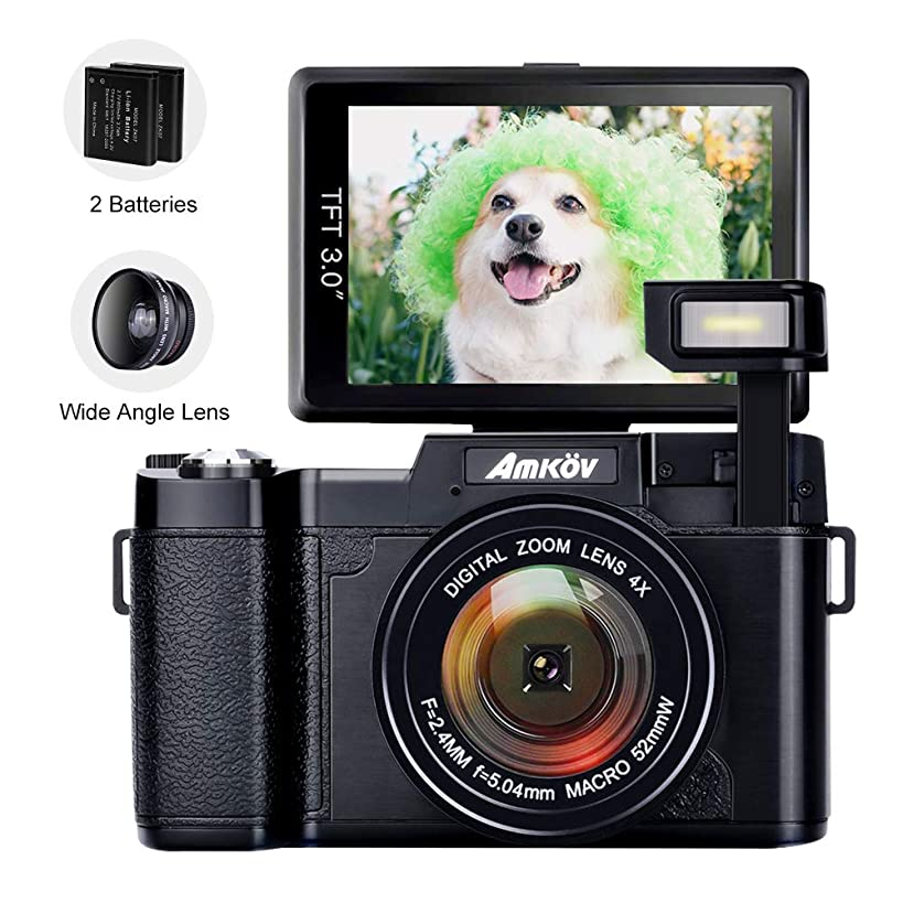 Digital Camera, AMKOV R2 Vlogging Camera 24 MP Point and Shoot Selfie Camera 1080P Camcorder with Wide Angle Lens, UV Filter, 4X Zoom, 2 Rechargeable Batteries, Flip Screen, Retractable Flashlight