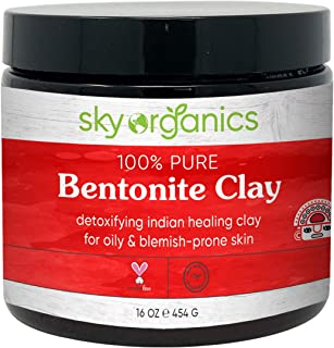 Bentonite Clay by Sky Organics (16 oz) 100% Pure Bentonite Clay Indian Healing Clay Face Mask for Oily Blemish-Prone Skin ...