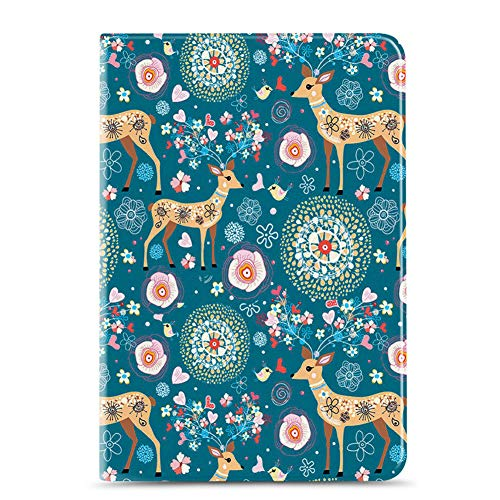 New Ipad 10.2 2019 Case, Apple Ipad 7Th Generation Case [Cute Animal Pattern], PU Leather Shockproof Shell Stand Smart Cover with Auto Wake/Sleep,Jungle fawn