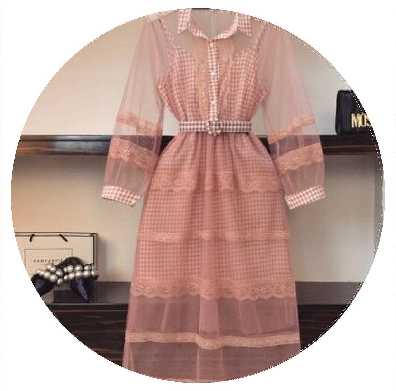 Brave pinkmary Women Ruffles Lace Crochet Organza Dress+Plaid Strap Dress 2 Pieces Sets Suits