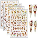 Butterfly Nail Art Adhesive Sticker Different Laser Gold Color Butterfly Shapes Nail Accessories Decals Foil Nail Art Decoration Set for Acrylic Nails Design (4 PCS Gold)