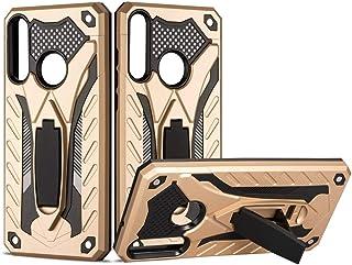 LENASH Shocksäker TPU + PC Skyddsväska med hållare för Huawei Y6P Fallskydd (Color : Gold)