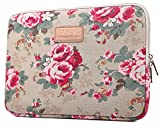KAYOND KY-41 Canvas Fabric Sleeve for 15.6-inch Laptops - Peony Patterns (15.6, Apricot Peony)