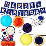 Outer Space Decorations Space Birthday Banner Solar System Hanging Supplies Galaxy Planets Honeycomb Rocket Centerpiece Space Paper Lanterns Space Birthday Party Decor