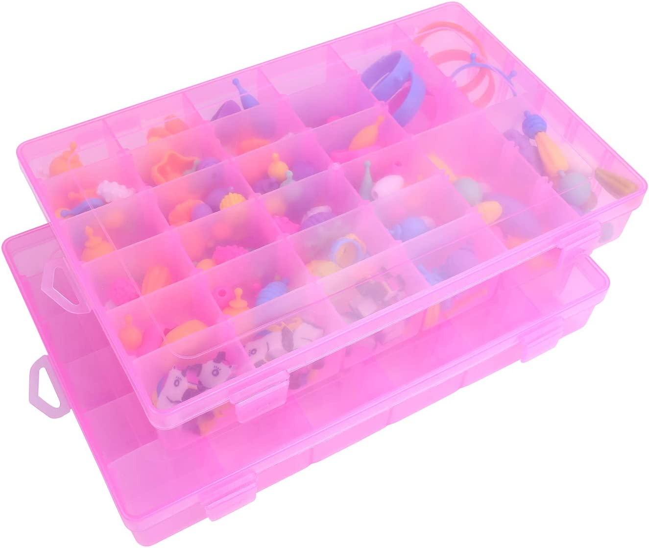 OffKits 2PCS Jewelry Box Plastic Bead Storage Container Earrings