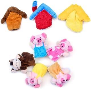 Edealing La historia tres cerditos Finger Puppets Divertido felpa Muñecas Family Story Juegos infantiles para bebés Paquete De 8
