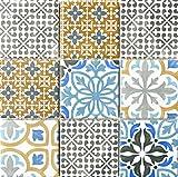 WB22B-1406 - Azulejos de cerámica para baño, inodoro, ducha, cocina, espejo de baño, diseño vintage, color crema, azul, naranja y gris mate