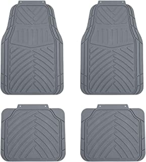 TAPAM 4pc Universal Car Floor Mat for All Weather (Gray)