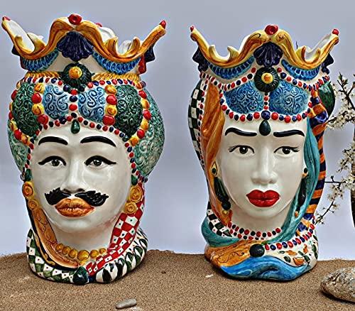 Coppia teste di moro artigianale ceramica Siciliana di Caltagirone varie misure (25 cm)