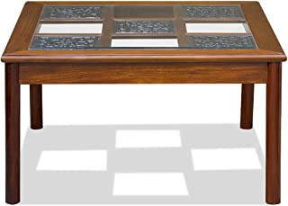 ChinaFurnitureOnline Rosewood Coffee Table, 36 Inches Ming Style Checker Design Square Table with Glass Top Natural Finish