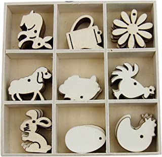 JHYQ Easter Theme Mini Laser Cut Wood Shapes Wooden Rabbit Eggs Sheep Flower Chicken Shapes 45 Pieces Unfinished 9 Styles Card Gift Tags Home Decor Planner