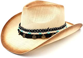 JAUROUXIYUJI New Women Men Straw Western Cowboy Hat with Western Band for Elegant Lady Sombrero Hombre (Color : Natural, Size : 58cm)