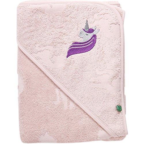 Fred's World by Green Cotton Mädchen Unicorn Baby Towel Bademantel, Pink (Rose 014130901), One Size (Herstellergröße: 100x100)
