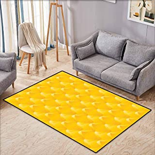 Kids Rug,Yellow Abtract Shaded Curving Lines and Swirling Motifs Patterns Style Crystal Decorative Living,Anti-Slip Doormat Footpad Machine Washable,3'11