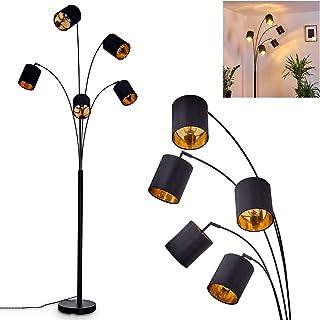 Lampadaire Bhutan en métal et textile noir & or, lampe sur pied vintage à 5 spots pivotants et interrupteur sur le câble, ...